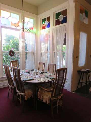The breakfast room of the Garden Street Inn in San Luis Obispo.