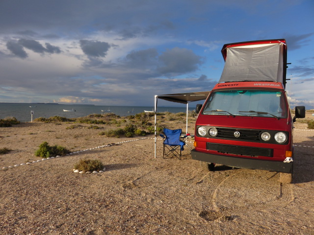 We had a beautiful campsite along the lagoon. From our van, we could see whales spurting water from their blowholes.