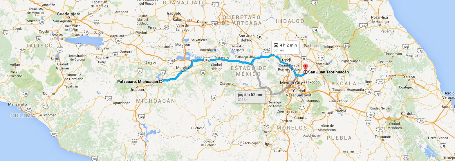 Map-Patzcuaro-Teotihuacan