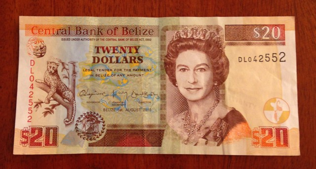 The currency is called the Belize dollar (BZD). Queen Lizzy appears on all the bills.