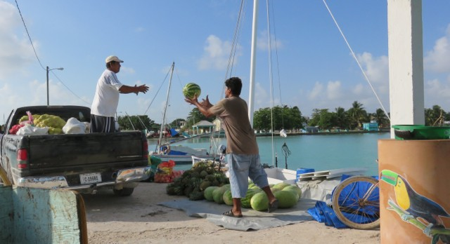 Off-season fishing boats were being loaded up with food and supplies for the reef islands.