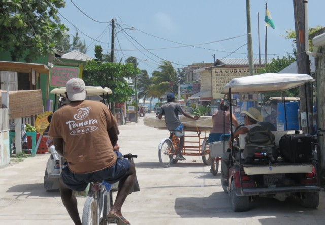 This is what a traffic jam looks like on Caye Caulker.