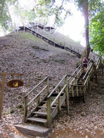 The park installed wooden stairs leading to the top of some of the pyramids to protect their painstakingly restored stone steps.