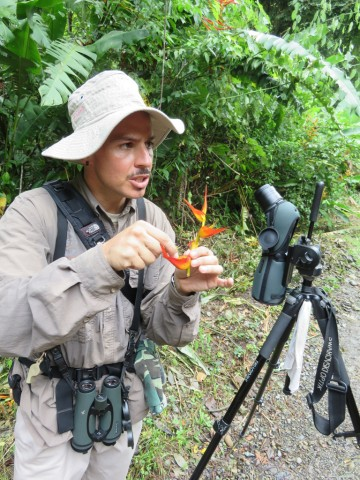 Andres introducing the Heliconia flower