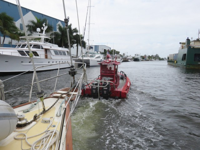 We were towed into Harbourtowne Marina near Fort Lauderdale.