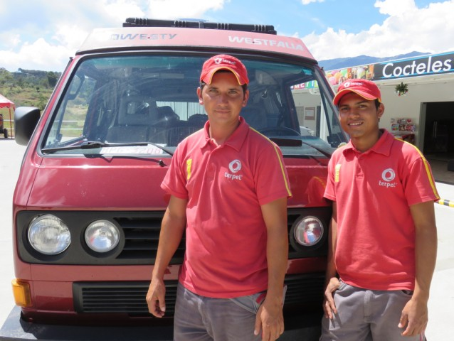 These guys from Zapatoca were super curious about the van - they are the friendliest gas attendants we have ever met.