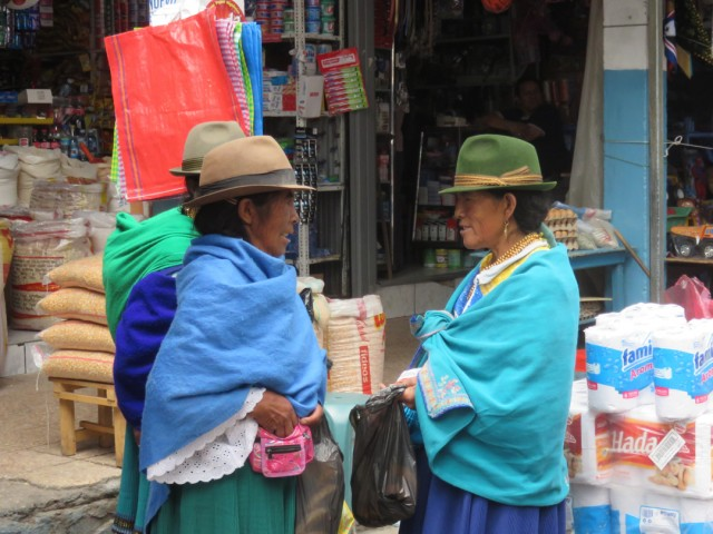 Felt hats are worn by both men and women throughout Ecuador