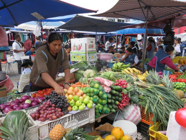 We loved seeing the colourful produce stalls…