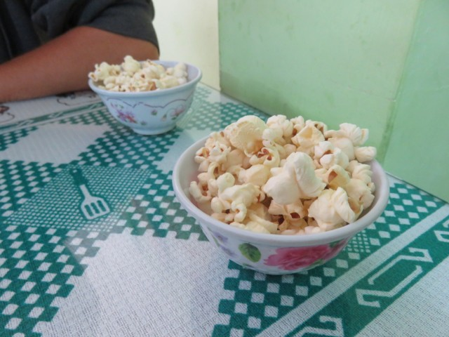 Sometimes lunch would include a popcorn appetizer. What a treat!