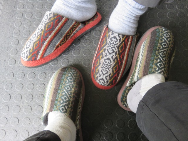 We bought cozy house slippers for the cold Andean nights.