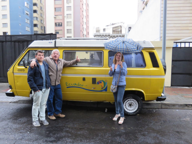 Chalo, Sandra, their son, Pancho, and their van, 'El Abuelo' (The Grandfather)