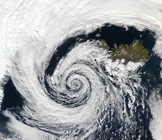 Low pressure system over Iceland, demonstrating the Coriolis Effect in the northern hemisphere. Photo by NASA.
