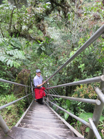 Steep hike down to more waterfalls in Machay