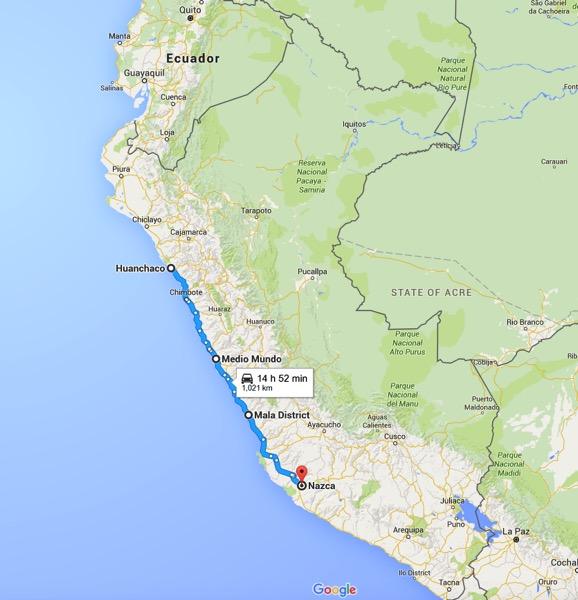 Map Huanchaco Nazca