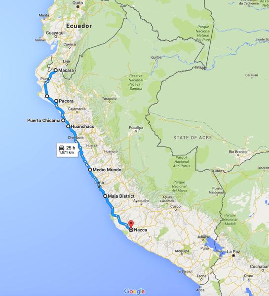 Map Peru Desert