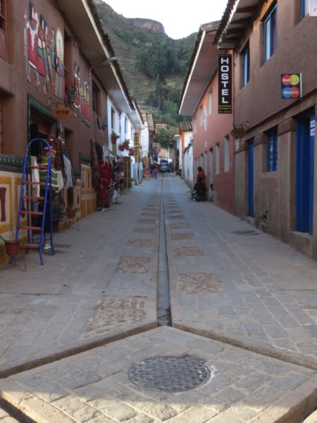 The modern-day town of Pisac has irrigation channels embedded in the streets.