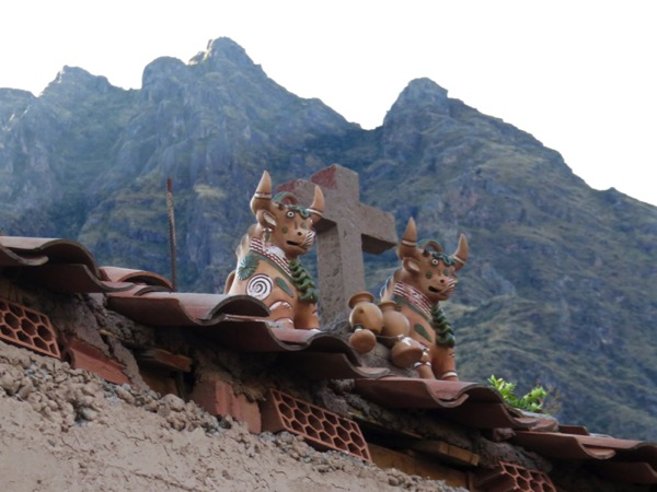 The bulls on people's roof are placed there to ward of evil spirits.