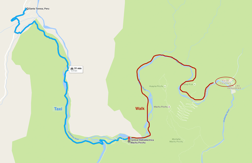 Our route from Santa Teresa to Aguas Calientes. From there, we took the bus up the switchbacks to Machu Picchu.