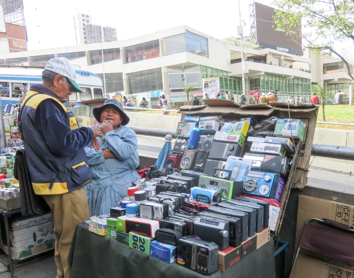 You can buy old school radios on the street in La Paz