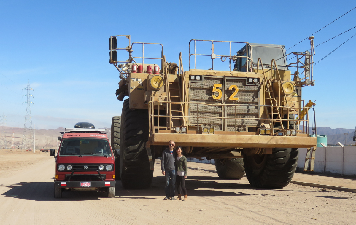 Camilo took us to a site where monster mining trucks were parked for maintenance.