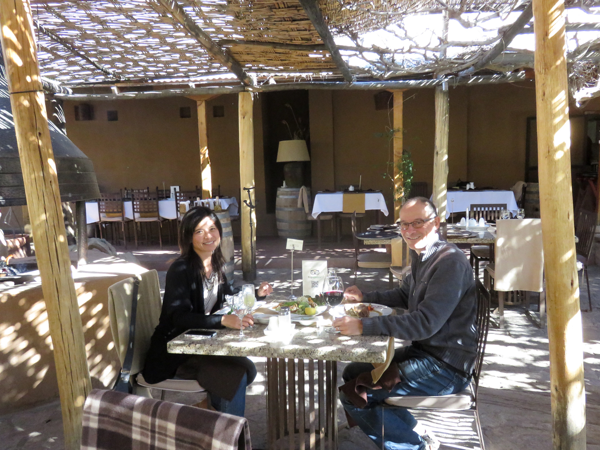 Lunch at the Pisco Mistral Distillery Restaurant. The dappled sunlight made us feel like we were high-class, even though there was big hole in the roof.
